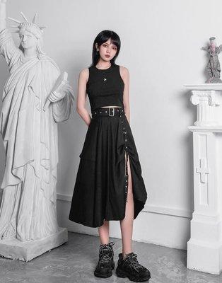 【黑店】原創設計 訂製款暗黑系大裙襬黑色長裙 龐克個性大裙襬長裙 不規則開衩垂墜感個性長裙XY117