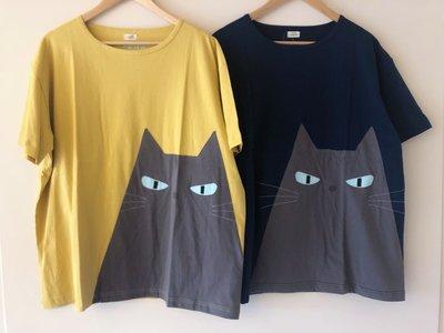 日本卡拉貓~藍眼貓咪純棉上衣 大尺碼 男女可穿