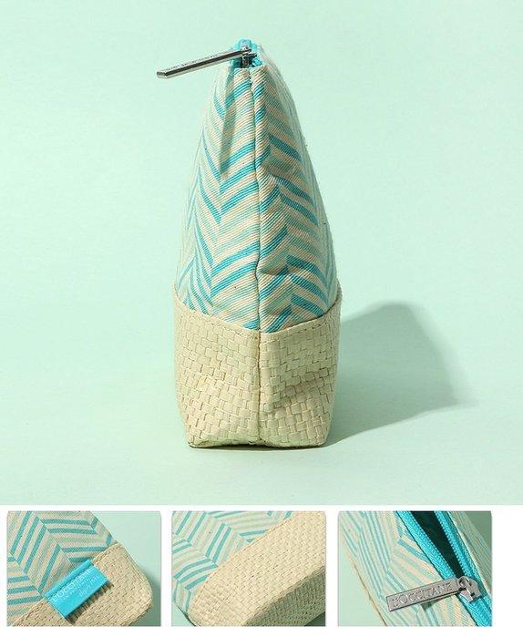 ☆Eric Zakka☆L'occitane 歐舒丹 (青綠色條紋) 化妝包 收納包 洗漱包 小物包【現貨】JL0929