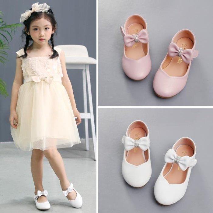 女童公主鞋2018春秋新款韓版六一兒童寶寶演出白色皮鞋小女孩平底