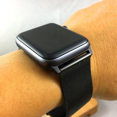 Apple Watch  代用錶帶 米蘭 網帶 不鏽鋼 爵黑 冷酷 可調整長度 ㊣ 極致黑