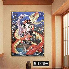 日本浮世繪三神掛畫日料餐廳裝飾畫日式酒店刺青工作室(3款可選)