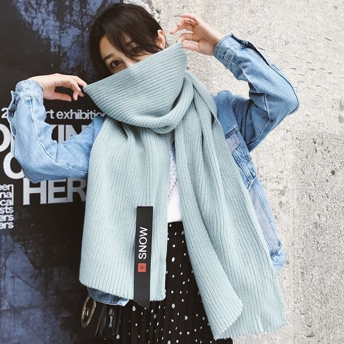 【berry_lin107營業中】新款圍巾女冬季韓版百搭學生加厚長款毛線針織少女大圍脖
