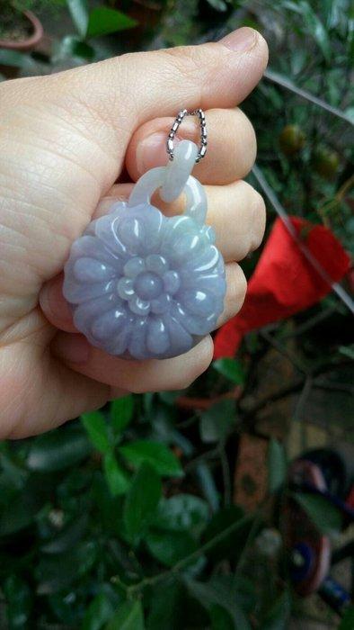 天然 冰料 紫羅蘭花朵 墜子