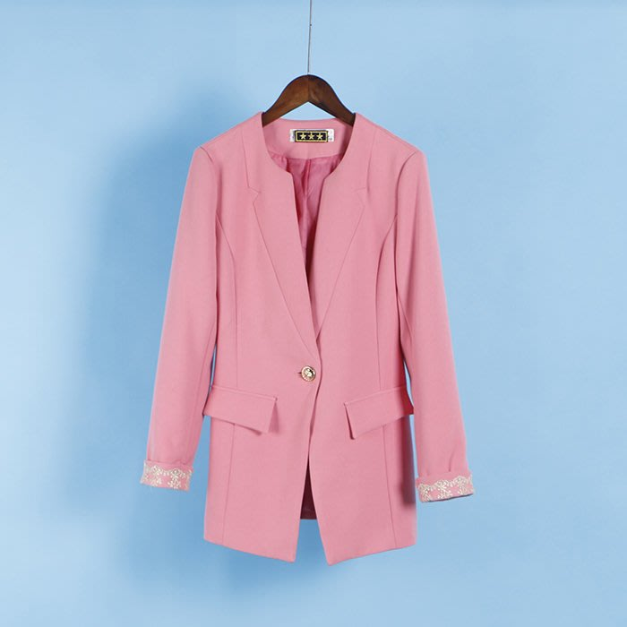 東大門平價鋪   新品 精致袖口品质一粒扣中长款西装外套