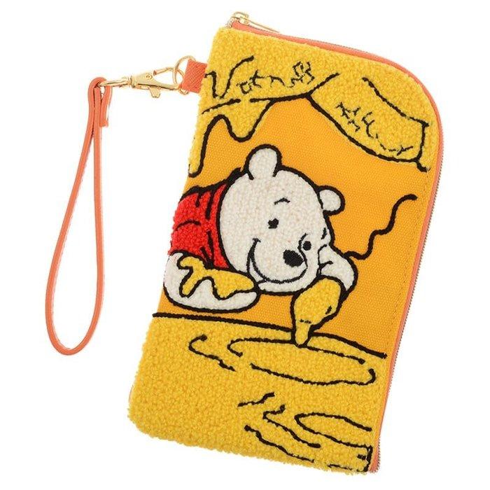 代購現貨  日本迪士尼 小熊維尼織物布面手機袋