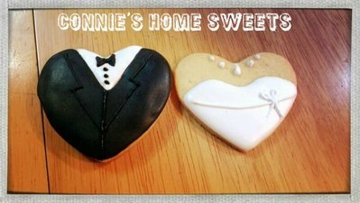 【Connie's Home Sweets】Wedding cookies icing cookie pop Wedding cupcakes 結婚回禮曲奇 連精美包裝