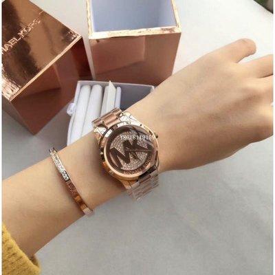 MK5853 手錶MK標志性LOGO滿鑽三件式套裝手錶手環組