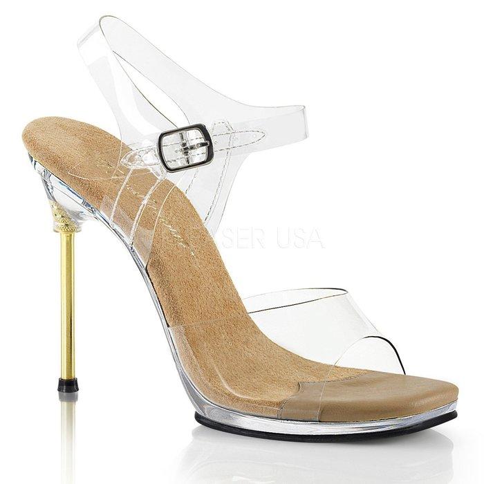 Shoes InStyle《四吋》美國品牌 FABULICIOUS 原廠正品透明高跟涼鞋 有大尺碼 出清『駝色』