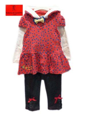 諾貝達童裝專櫃【特價秋冬】全新橘色點點連帽長版衣+灰黑棉褲裝95公分