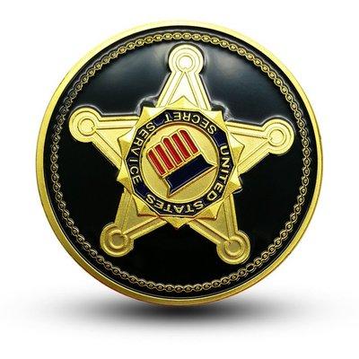 新款 美國特勤處USSS紀念幣 外國硬幣總統保鏢神盾局特工榮譽金幣