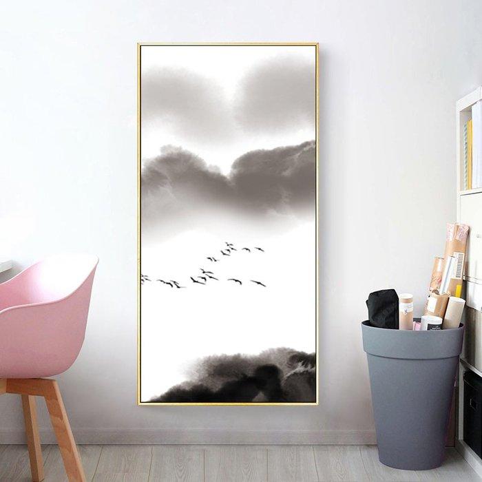 新中式創意藝術畫黑白抽象山水畫餐廳裝飾畫畫芯玄關掛畫(4款可選)