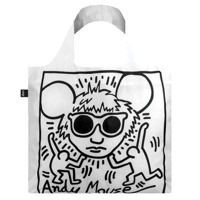 LOQI春捲包【博物館名畫-凱斯哈林-安迪鼠$420】耐重20公斤.防潑水面料.三種收納方式! 購物袋、環保袋、收納袋
