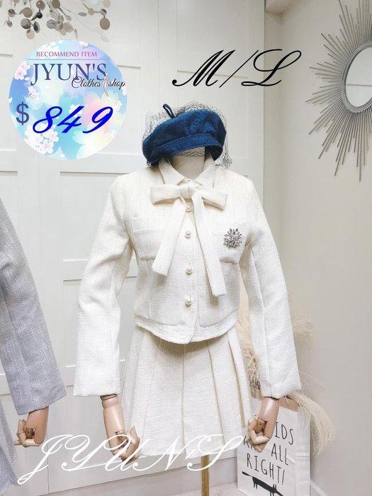 JYUN'S 韓範2019春季新款花朵鑽胸針珍珠扣粗呢短長袖外套+百褶裙短裙套裝 兩件套 2色 M/L預購