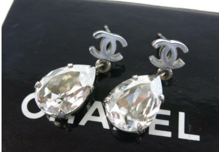 Chanel 香奈兒logo+水滴鑽耳環