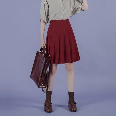 夏季新款復古的高腰百褶a字半身短裙子女