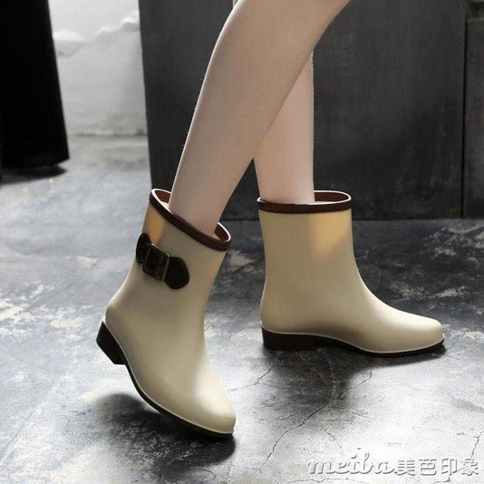 短筒時尚雨鞋女成人保暖雨靴防滑水鞋套鞋棉韓國加絨膠鞋防水水靴 【甜心】