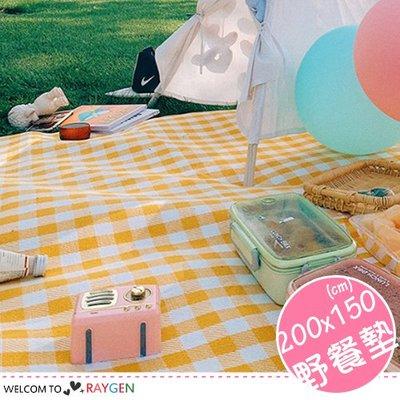 HH婦幼館 戶外便攜式格紋野餐墊 防潮墊 一體式收納 200x150【3A045M772】