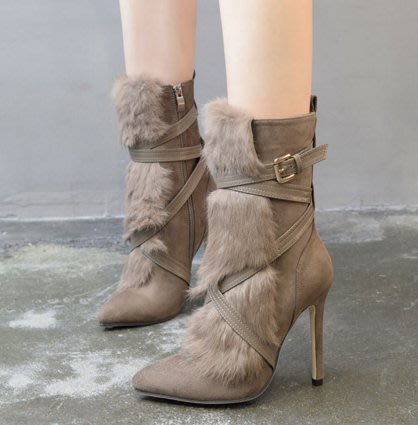 100percent時尚名媛風兔毛絨中筒高跟靴