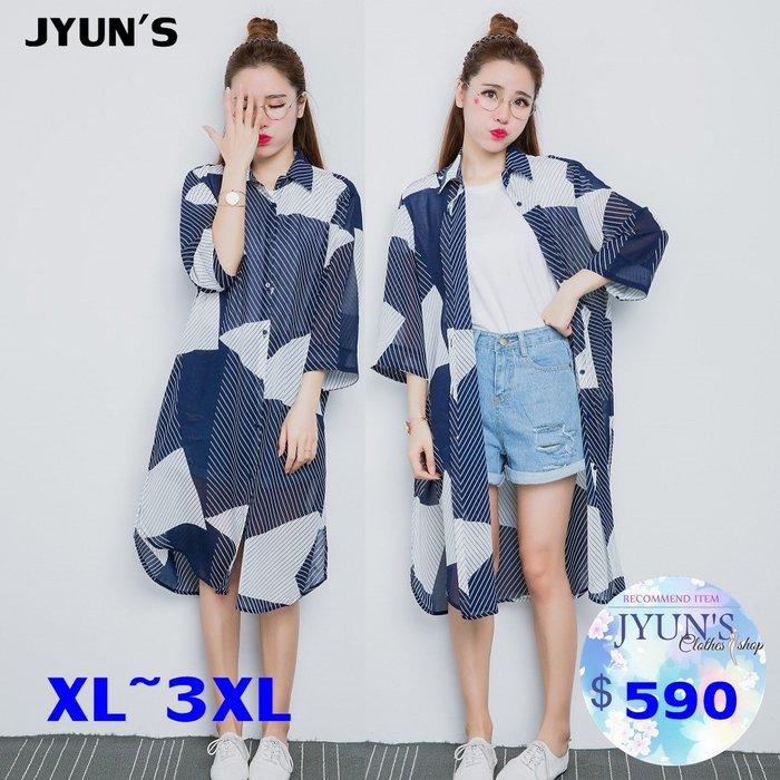 JYUN'S 春夏新款超大碼100公斤可穿 大尺碼 大碼 微胖款雪紡衫外套寬鬆開衫防曬衣加大長袖襯衫 1色 預購