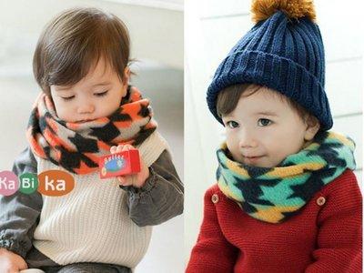 冬天保暖脖圍 拼色款迷彩百搭款寶寶圍巾...