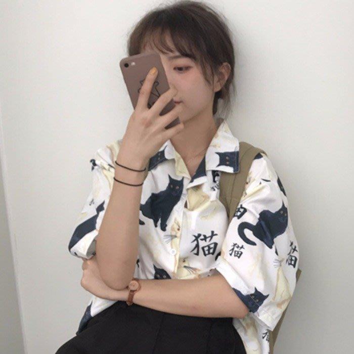 小香風 短袖T恤 時尚穿搭 韓版 寬松百搭設計感前短后長印花貓咪短袖襯衫女學生
