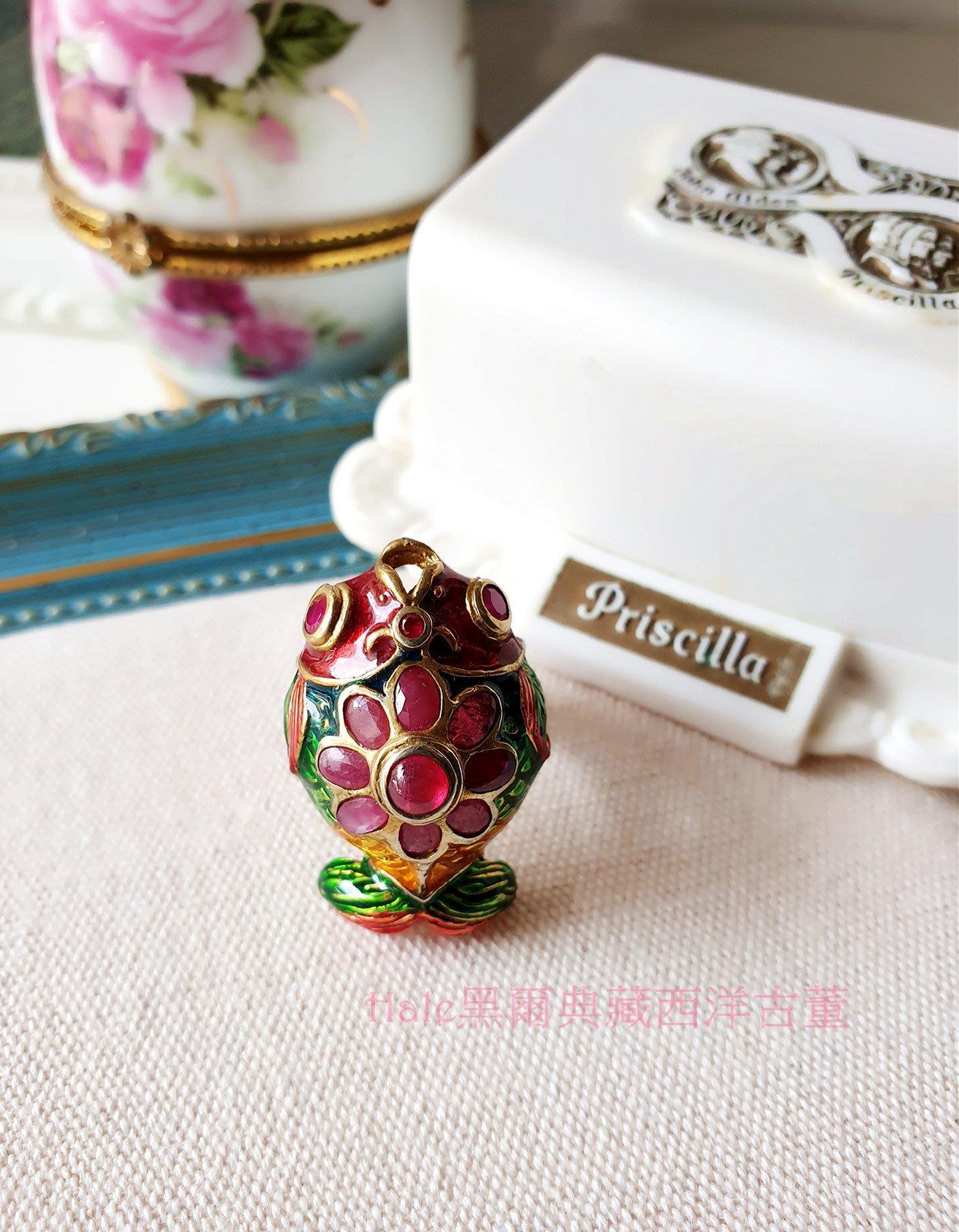 黑爾典藏西洋古董~純925銀鑲嵌紅寶石景泰藍鎏金立體可愛金魚錦鯉銀戒~絕版美品珍藏珠寶