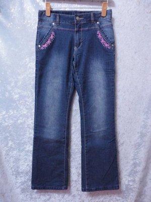 bossini~電繡蝴蝶結滾邊口袋牛仔褲~SIZE:150(150/63)~99元起標