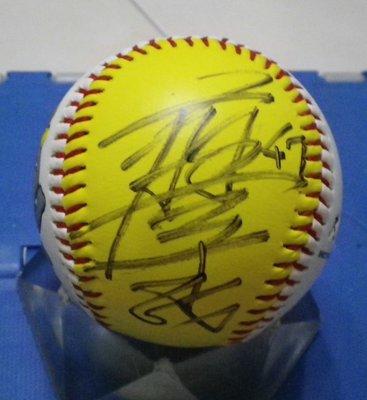 棒球天地---超級絕版-- 廖于誠 簽於兄象絕版紀念球.字跡漂亮