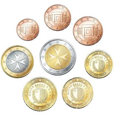【首年幣】EURO 馬爾他2008歐元發行首年 1 cent ~ 2€ 全新8枚一組