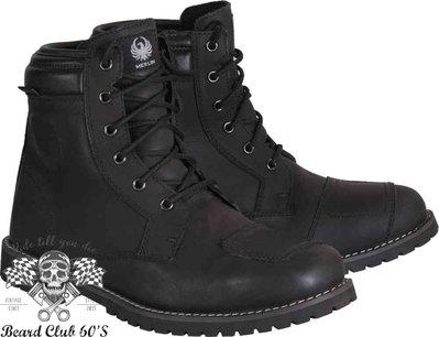 ♛大鬍子俱樂部♛ MERLIN® Ruben 英國 倫敦 復古 哈雷 重機 防水 牛皮 防摔鞋 短統 車靴 工作靴 黑色