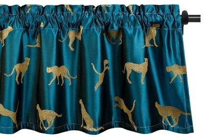 10038A 日本進口 好品質 深藍緞面獵豹短簾窗簾簾子時尚動物花豹擋簾遮簾窗戶掛簾房間廚房裝飾布牆上掛飾掛布禮品