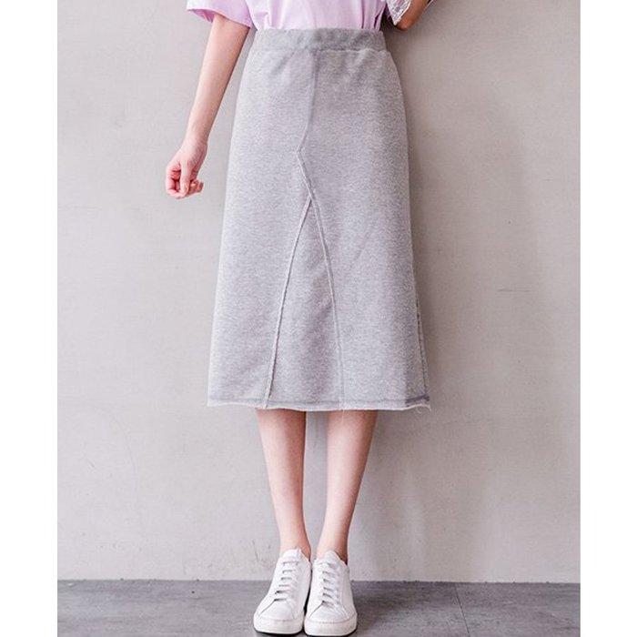 【Hao Da】全館399免運↘「M~XL。現貨」3色 下擺不修邊 棉質長裙 (P1224)
