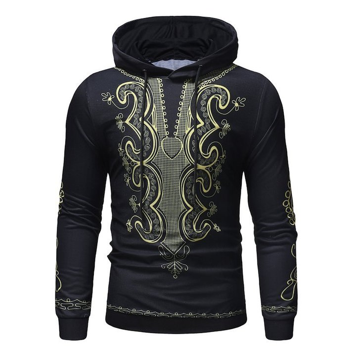 『潮范』  N4 新款外貿男裝創意民族風印花圖案T恤 休閒連帽T恤 套頭衛衣 長袖T恤NRG317
