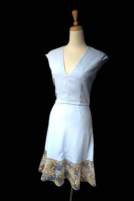 *Beauty*CARVEN水藍色裙襬黃蕾絲魚尾裙洋裝 WE16