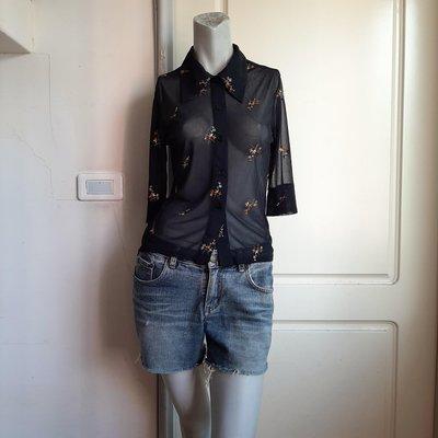 【Bjs啵古着】80.90年代SISTER刺繡圖案透明感黑色5分袖絲紗襯衫