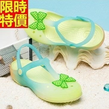 洞洞鞋 果凍鞋 女涼鞋-甜美蝴蝶結漸變色沙灘鞋子3色67u49[獨家進口][米蘭精品]