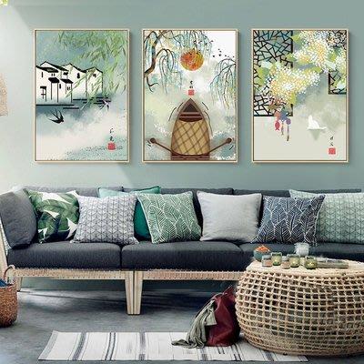 新中式古風國畫民族風L型內嵌式無玻璃細邊成品壁畫節氣植物建築(不含框)