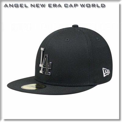 【ANGEL NEW ERA】MLB 洛杉磯 道奇 LA  銀 鐵牌 59FIFTY 棒球 帽 帆布材質 黑 全封帽