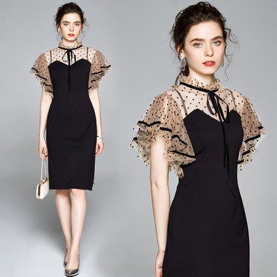 實拍現貨黑色修身波點顯瘦中長款連衣裙8608