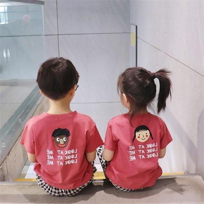 19夏季男女 兒童   韓卡通人頭打底衫T恤印花套頭衫純棉兄妹裝