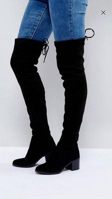 ASOA New Look Over the Knee Block Heeled Boot全新品高筒黑色綁帶長靴
