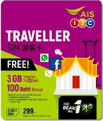 售泰國上網電話卡 AIS 電信 8日15GB高(超過降速) +15泰銖撥接電話 (期限到2020 7月)