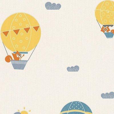 【Uluru】德國期貨壁紙.北歐簡約 Fox Hot air balloon (2色) 熱氣球 狐狸  兒童房