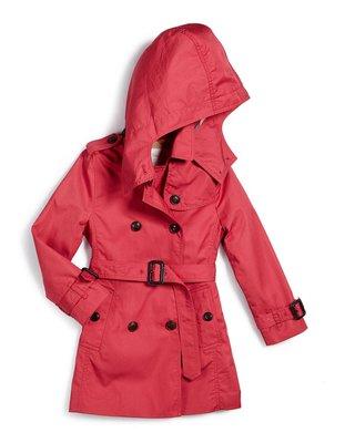 Burberry  Hooded Trench Coat 女童 大童 12Y 大人 06 08 10 玫紅色 風衣 外套