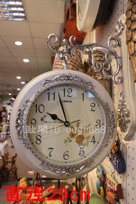 *歐閣鄉村傢俱傢飾*歐式雙面鐘.鄉村風雙面鐘.裂紋雙面鐘.造型鐘.地鐵鐘.維多利亞.古典掛鐘 地鐵鐘 靜音鐘