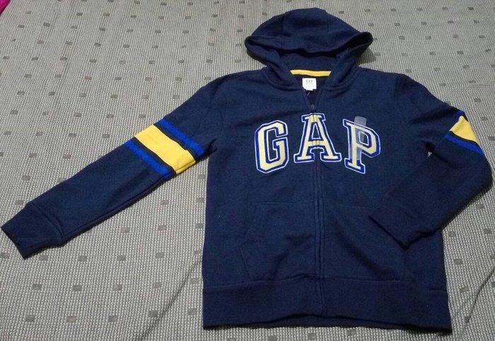 全新【Gap】男童logo條紋長袖連帽休閒外套 柔軟兒童上衣 靛藍色(160cm)