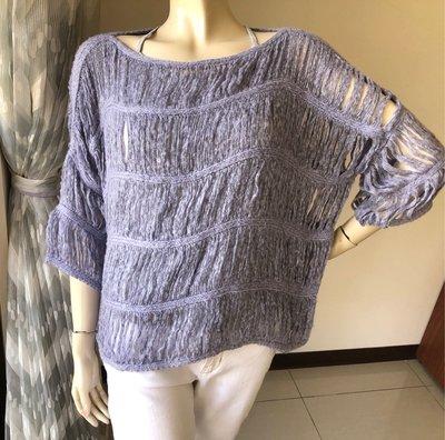 鴿子peace dove 一字領簍空淺紫色毛衣罩衫 ~AJ衣飾