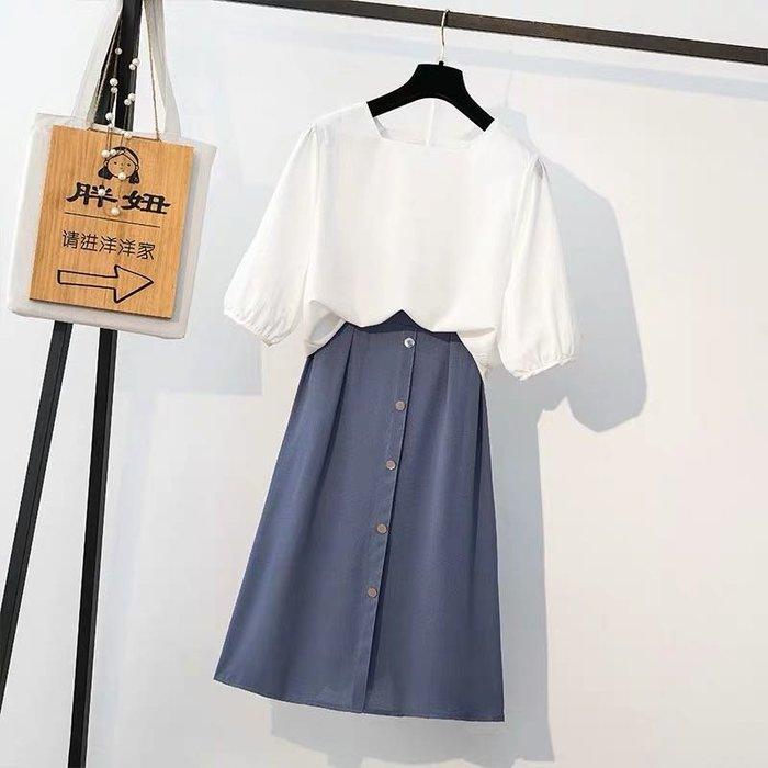 (可單買)優雅氣質大尺碼雪紡上衣兩件式套裝半身裙