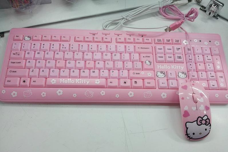 超可愛hello kitty鍵盤 凱蒂貓鍵盤 超薄防水 女生可愛 卡通 KT鍵盤 Kitty鍵盤鼠標套裝 USB鍵盤